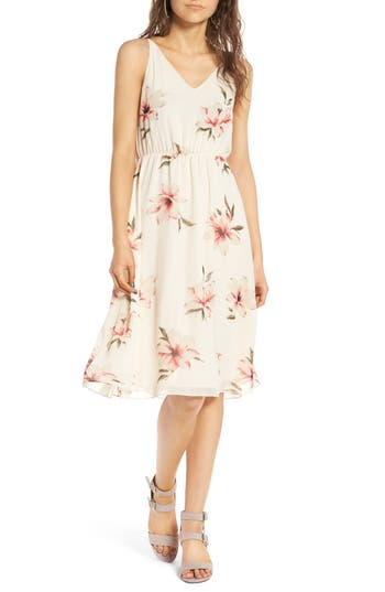 Women's Soprano Floral Blouson Midi Dress, Size Large - Ivory