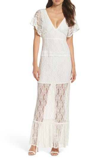 Foxiedox Cecilia Lace Sheath Gown, White