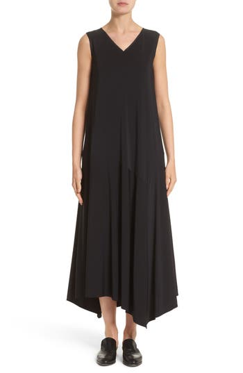 Lafayette 148 New York Cultivated Crepe Jersey Asymmetrical Dress, Size Petite - Black