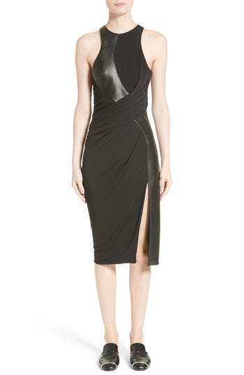 Alexander Wang Draped Jersey & Leather Dress, Black