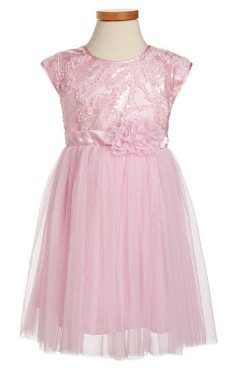 Girl's Popatu Pink Sequin Dress, Size 4 - Pink