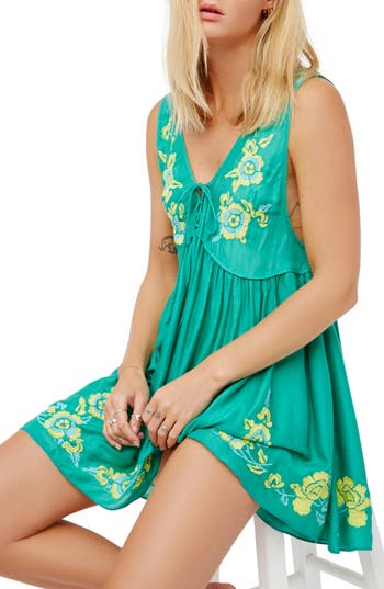 Women's Free People Aida Embroidered Slipdress, Size Large - Green