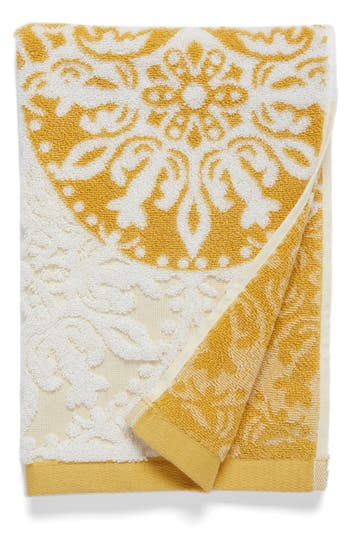 Nordstrom At Home Fan Ombre Jacquard Hand Towel, Size One Size - Yellow
