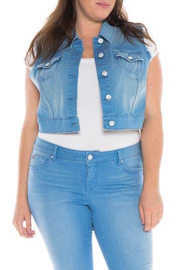 Plus Size Slink Jeans Crop Denim Vest, Blue