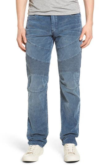 True Religion Brand Jeans Geno Straight Leg Corduroy Moto Pants, Blue