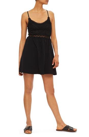 Topshop Crochet Trim Sundress, US (fits like 0) - Black