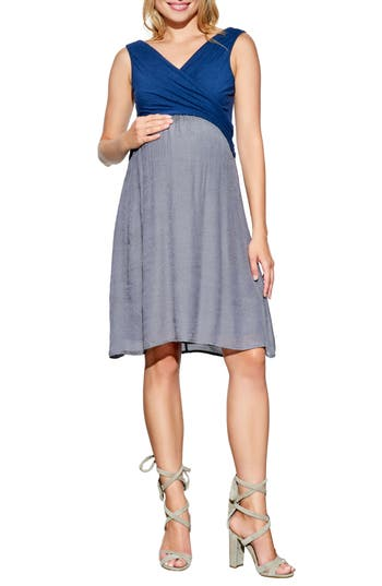Maternal America Surplice Babydoll Maternity/nursing Dress, Blue