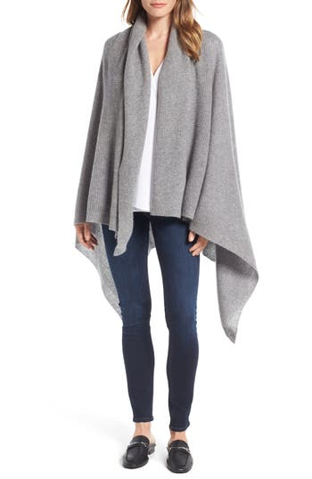 Women's Halogen Waffle Knit Cashmere Wrap, Size One Size - Grey