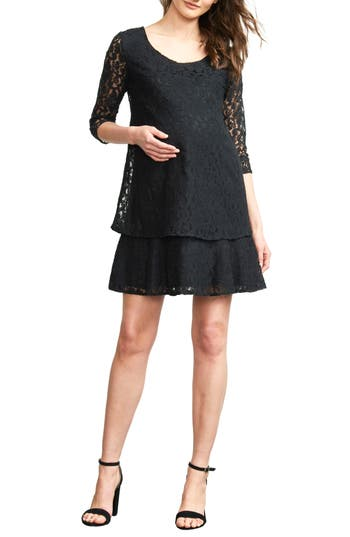 Maternal America Tiered Lace Maternity Dress, Black