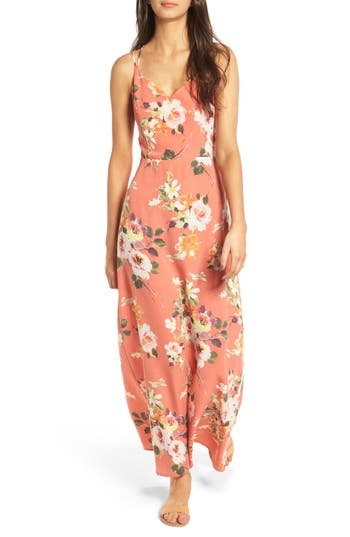 Women's Soprano Floral Strappy Back Maxi Dress, Size Medium - Coral