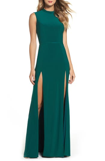 Ieena For MAC Duggal Jersey Double Slit Gown, Green