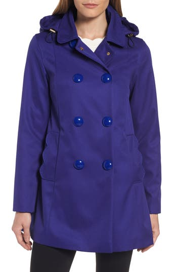 Women's Kate Spade New York Scallop Pocket A-Line Raincoat, Size X-Small - Blue