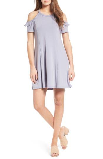Lush Ruffle Cold Shoulder Dress, Blue