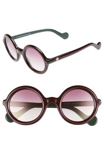 Women's Moncler 50Mm Gradient Lens Round Sunglasses - Burgundy/ Burgundy Mirror