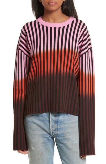 Women's Opening Ceremony Dip Dye Stripe Crewneck Sweater, Size X-Small - Pink