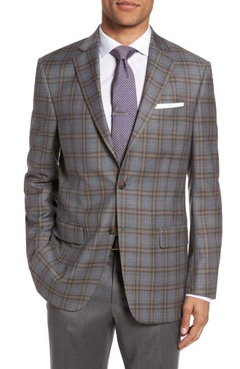 Hart Schaffner Marx Classic Fit Plaid Wool Sport Coat, Grey