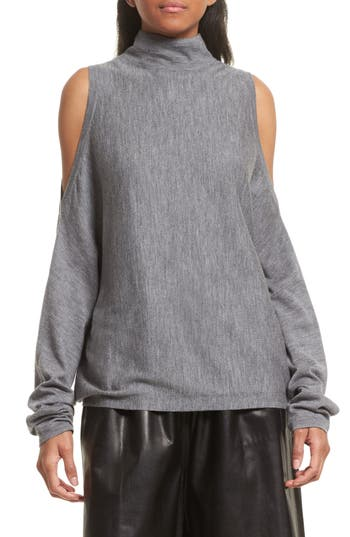 Robert Rodriguez Cold Shoulder Merino Wool Sweater, Grey