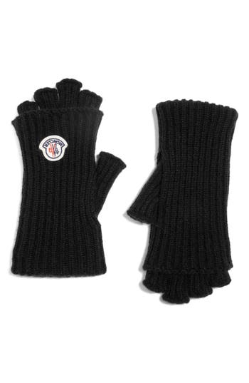 Moncler Guanti Wool & Cashmere Long Fingerless Gloves, Black