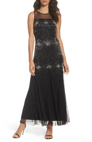 Pisarro Nights Beaded Mesh Gown
