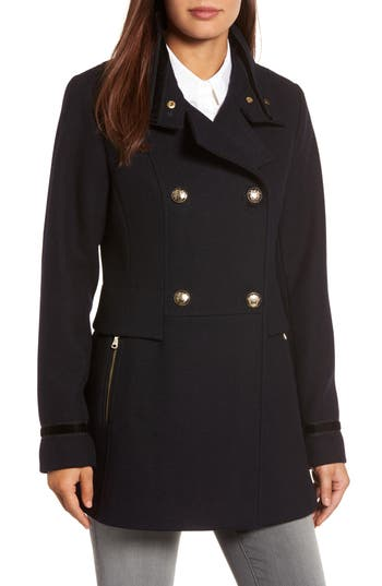 Women's Vince Camuto Wool Blend Military Coat, Size X-Small - Blue