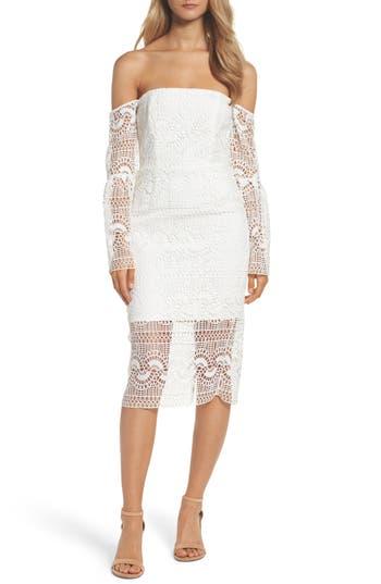 Bardot Off The Shoulder Sheath Dress, White