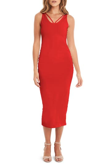 Michael Stars Reversible Stretch Cotton Midi Dress, Red