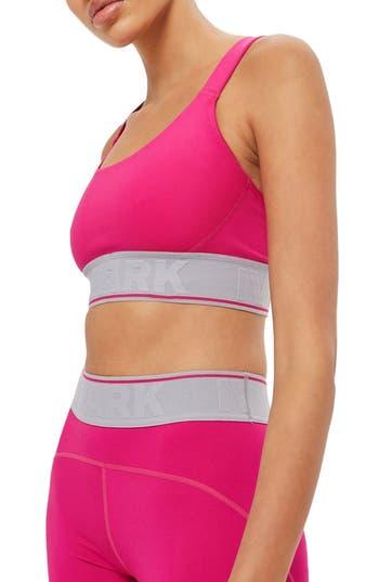 Ivy Park Logo Elastic Mesh Inset Sports Bra, Pink