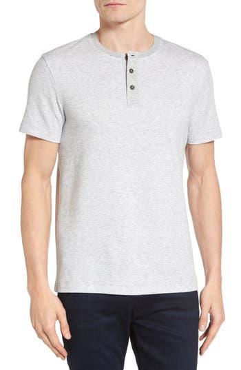 Boss Tiller Slim Fit Short Sleeve Henley, Grey