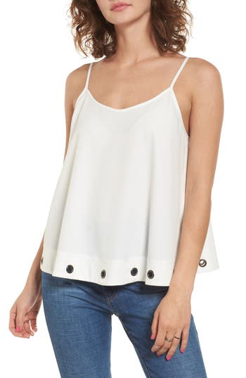 Women's Soprano Grommet Trim Tank, Size Medium - Ivory