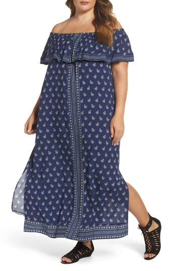 Plus Size Two By Vince Camuto Paisley Off The Shoulder Maxi Dress, Blue