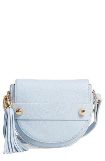 Milly Astor Leather Crossbody Saddle Bag - Blue