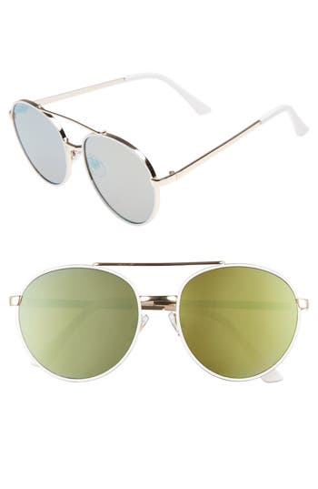 Women's Bp. Lucky Seven 55Mm Metal Aviator Sunglasses - White/ Gold