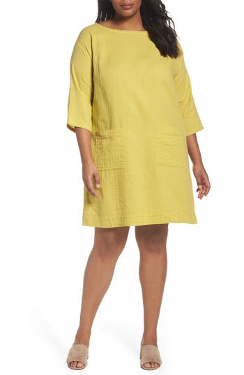 Plus Size Eileen Fisher Organic Cotton Gauze Tunic, Green