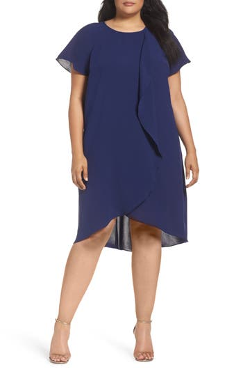 Plus Size Women's Adrianna Papell Crepe Ruffle Drape Shift Dress, Size 16W - Blue