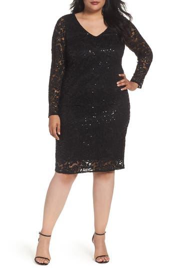 Plus Size Marina Lace Sheath Dress, Black