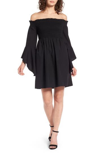 Bp. Smocked Off The Shoulder Dress, Black