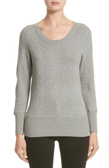 Burberry Check Knit Wool Blend Sweater, Grey