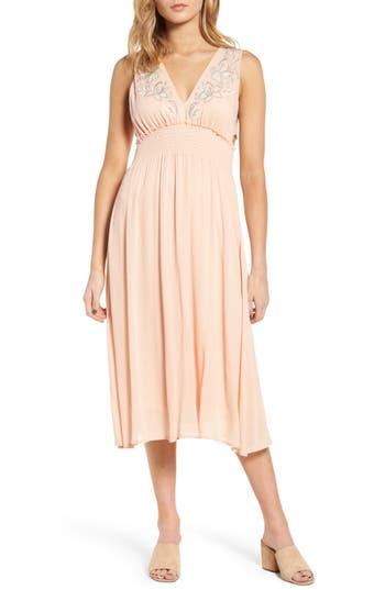 Lush Embroidered Midi Dress, Pink