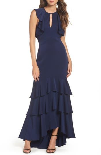 Shoshanna Daviot Ruffle Tiered Gown, Blue