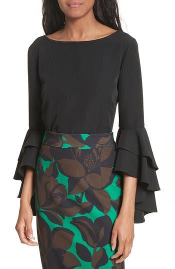 Women's Milly Annie Cascade Sleeve Stretch Cady Top, Size 0 - Black
