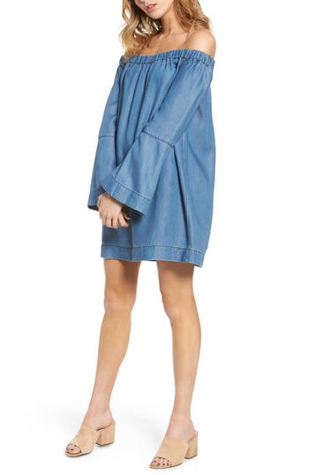 Women's 7 For All Mankind Off The Shoulder Denim Dress, Size X-Small - Blue