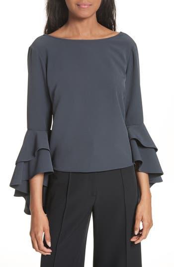 Women's Milly Annie Cascade Sleeve Stretch Cady Top, Size 0 - Grey