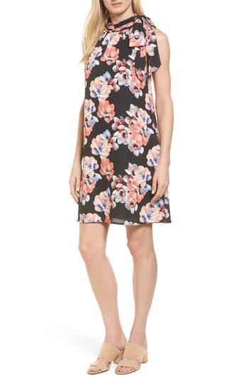 Cece Floral Tie Neck Shift Dress
