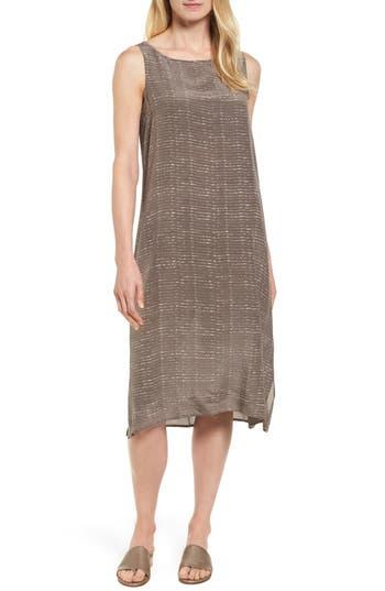 Eileen Fisher Stripe Bateau Neck Silk Dress