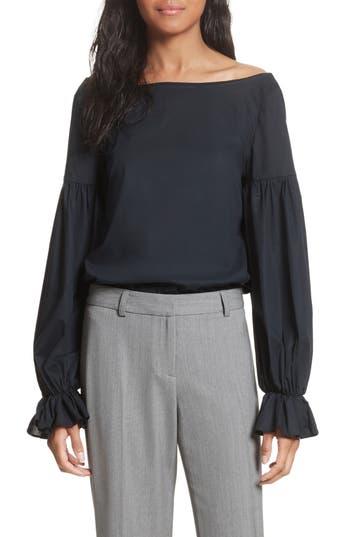 Women's Milly Linda Blouson Sleeve Top, Size Petite - Black