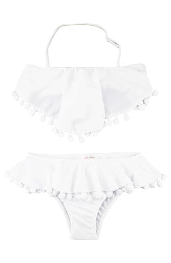 Girl's Stella Cove Pompom Ruffle Two-Piece Swimsuit, Size 8 - White