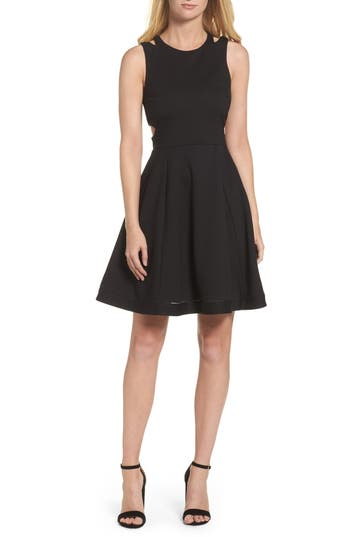 French Connection Lula Stretch Fit & Flare Dress, Black