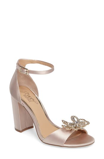 Jewel Badgley Mischka Lex Embellished Block Heel Sandal, Metallic