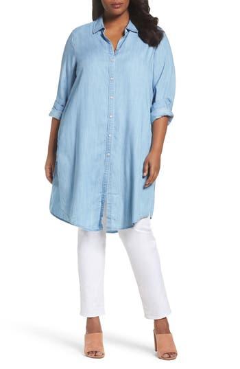 Plus Size Foxcroft Brin Chambray Tunic Dress, Blue