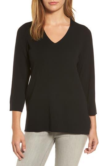 Eileen Fisher Merino Wool V-Neck Top, Black